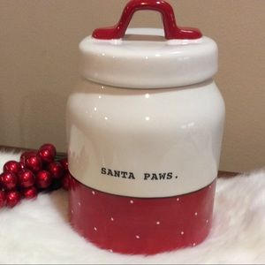 Rae Dunn Santa Paw Canister Small Christmas red